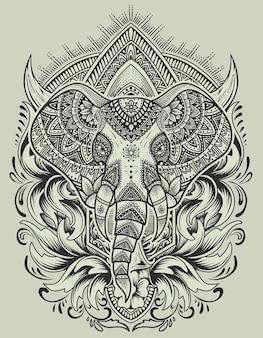 Mandala de cabeza de elefante con adorno grabado