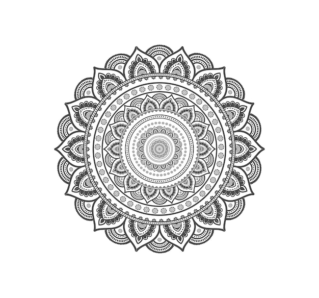 Mandala circular aislada para henna o tatuaje.