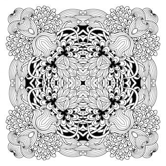 Mandala circular. esquema de dibujo a mano doodle ilustración. página de libro para colorear.