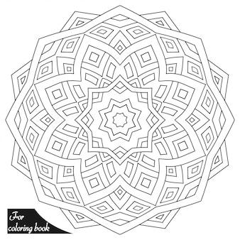 Mandala circular en estilo étnico oriental. esquema de dibujo a mano doodle ilustración. página de libro para colorear.