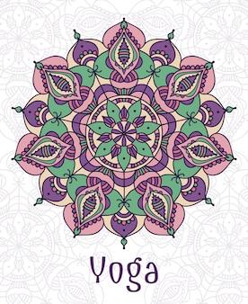 Mandala circular de yoga. diseñar loto espiritual sagrado, equilibrio y estilo de vida, relajación y concentración.