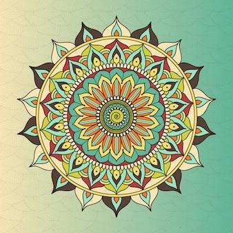 Mandala de círculo étnico oriental de vector. budismo símbolo sagrado, flor de meditación, decoración étnica, ilustración de motivo tribal
