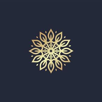 Mandala de círculo con logo de línea de hoja