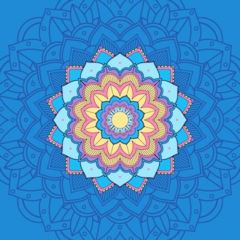 Mandala en color azul y amarillo.