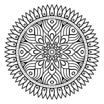Mandala, contorno, sin color