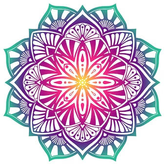 Mandala decorativa en colores verdes púrpuras.