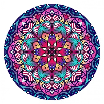 Mandala decorativa en violeta rosa y azul.