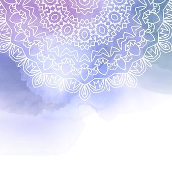 Mandala decorativo en un fondo de acuarela
