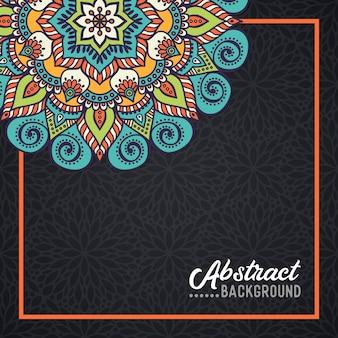 Mandala dibujado a mano en el fondo de la acuarela