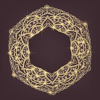 Mandala dorada con motivos árabes e indios.