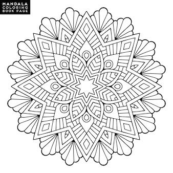 Mandala del esquema para el libro que colorea. ornamento redondo decorativo. patrón de terapia anti-estrés. elemento de diseño de tejido. logotipo de la yoga, fondo para el cartel de la meditación. forma inusual de la flor. vector oriental.