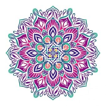 Mandala estilizada en colores vivos.