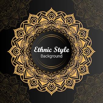 Mandala de estilo étnico de lujo dorado