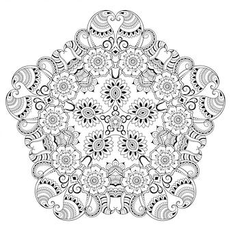 Mandala en estilo étnico oriental. esquema de dibujo a mano doodle ilustración. página de libro para colorear.
