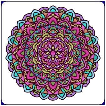 Mandala étnica colorida con motivos florales circulares.