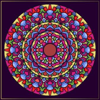 Mandala étnica colorida con motivos florales.
