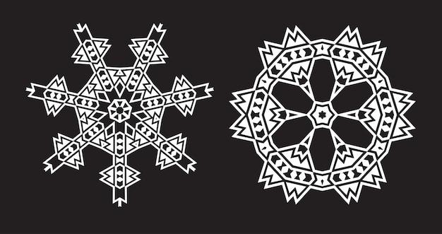 Mandala étnico fractal parece copo de nieve o patrón azteca maya o flor