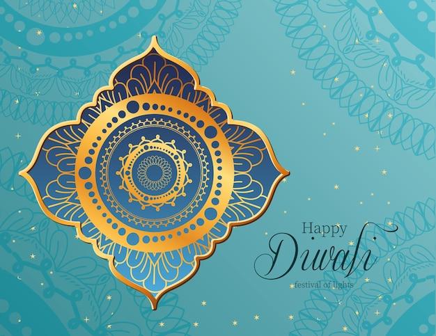 Mandala de feliz diwali en marco sobre diseño de fondo azul, tema festival de luces.
