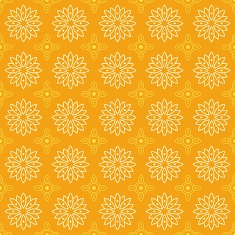 Mandala sin fisuras de fondo. fondo de pantalla de forma geométrica. flor floral ornamental en color amarillo.