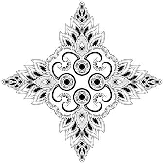 Mandala con flor. adorno decorativo en estilo étnico oriental. esquema de dibujo a mano doodle ilustración.