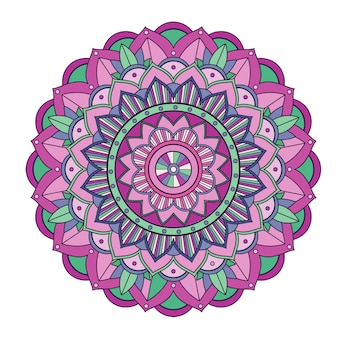 Mandala floral aislado en blanco