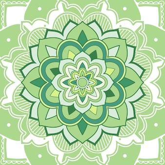 Mandala floral verde sobre blanco