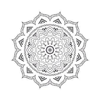Mandala de flores dibujadas a mano para colorear libro. patrón de henna étnica en blanco y negro. motivo indio, asiático, árabe, islámico, otomano, marroquí.