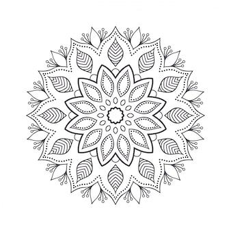 Mandala de flores dibujadas a mano para colorear.