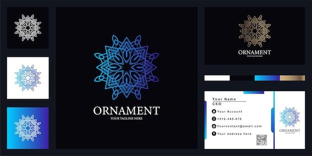 Mandala de flores o diseño de plantilla de logotipo de lujo de adorno con tarjeta de visita
