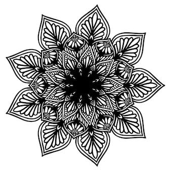 Mandala de flores redondas para henna aislado en blanco