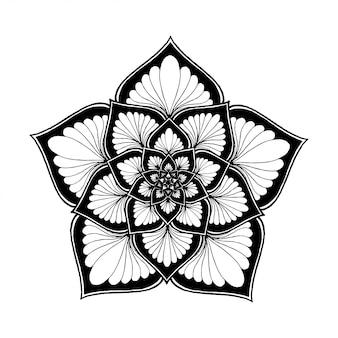 Mandala de flores redondas, henna. elementos decorativos vintage.