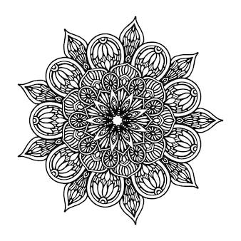 Mandala de flores redondas para tatuaje, henna. elementos decorativos vintage. oriental