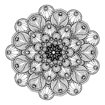 Mandala de flores redondas para tatuaje, henna. elementos decorativos vintage.