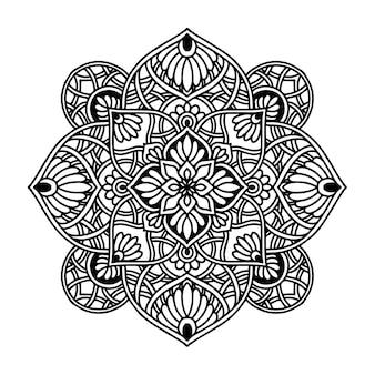 Mandala de flores redondas para tatuaje de henna
