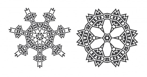 Mandala de fractal étnico judío de israel parece copo de nieve o patrón o flor azteca maya