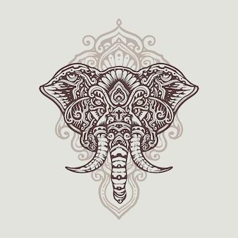 Mandala ganesha blanco negro ilustración dibujada mano