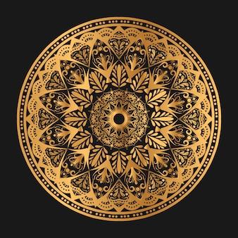 Mandala geométrica geométrica de lujo en color dorado