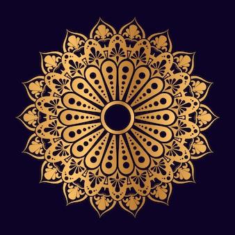 Mandala geométrica islámica en color dorado con fondo azul.