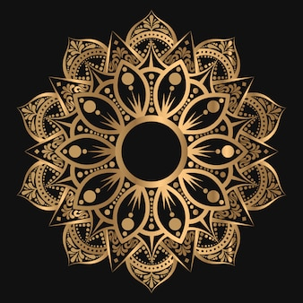 Mandala geométrica de lujo en color dorado este