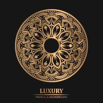 Mandala geométrica de lujo en fondo de color dorado
