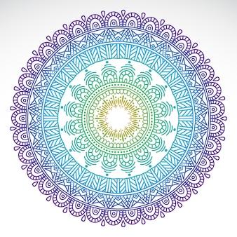 Mandala de gradiente redondo sobre fondo blanco aislado