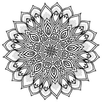 Mandala, ilustración muy detallada, motivo de tatuaje tribal étnico, aislado en un blanco.