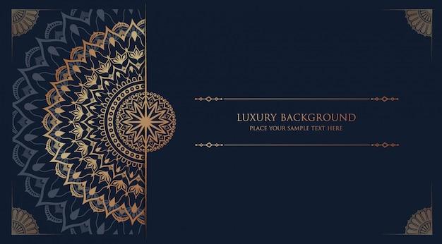 Mandala de lujo con arabescos dorados, estilo islámico árabe oriental