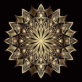 Mandala de lujo con arabescos dorados
