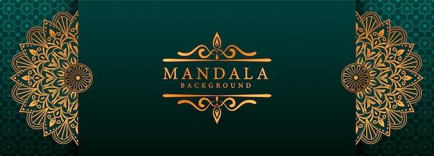 Mandala de lujo arabesque web banner estilo de fondo