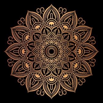 Mandala de lujo con decoración dorada