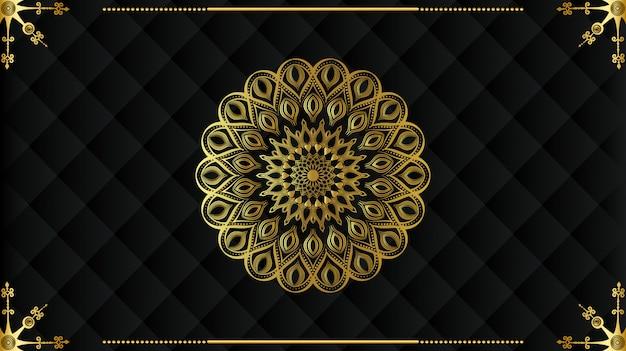 Mandala de lujo moderno con patrón de arabescos dorados estilo islámico real árabe