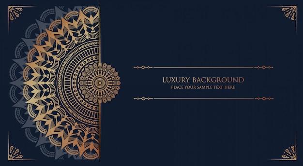 Mandala de lujo con patrón arabesco dorado estilo islámico árabe oriental