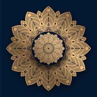 Mandala de lujo con patrón dorado islámico