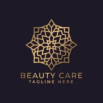 Mandala de lujo y plantilla de diseño de logotipo ornamental dorado
